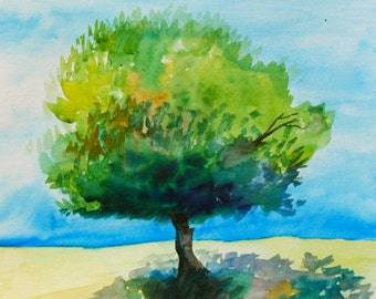 "Watercolor Painting, Original Painting, Tree, 11""x15"""