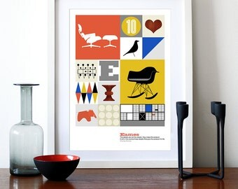 Poster Eames print kitchen art Mid century modern retro office art Herman Miller nursery art - The World of Eames A3