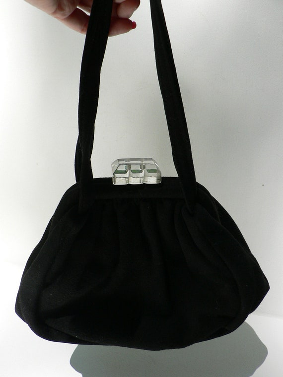 vintage 1940s black wool purse with clear lucite clasp / vintage pooch style handbag / 40s evening bag
