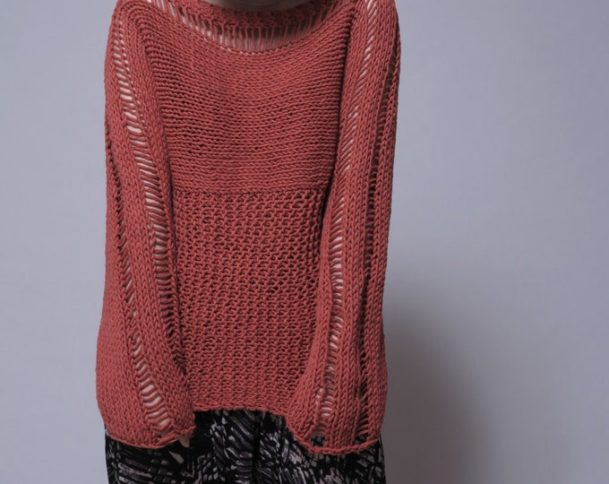 Hand Knit Woman Sweater - Eco Cotton Sweater in Brick Red