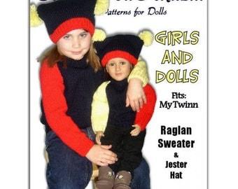 PDF Knitting Patterns, matching girls 4-10, and dolls, My Twinn, 23 inch, Raglan Sweater, Instant download