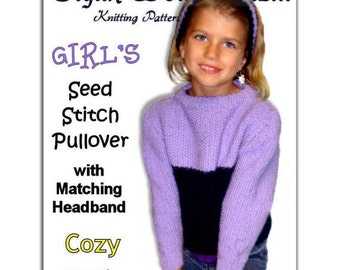 Childrens Knitting Pattern. Seed St. Pullover. Girls Sweater and Headband. PDF Instant Download
