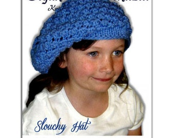 Knitting Pattern. Slouchy Hat, Girls and Kids. PDF File Instant Download