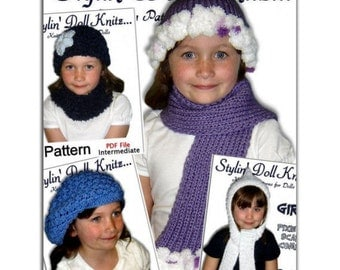 Knitting patterns. Hats, scarf, cowl neck warmer for girls sizes 4-10, PDF Instant Download