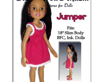 Knitting Pattern. Fits BFC, Ink  Doll. 18' slim doll, Jumper  PDF 751