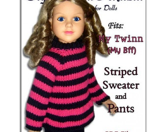 Knitting Pattern fits My Twinn (My BFF), 23 inch dolls. Striped Sweater and Pants PDF File 648