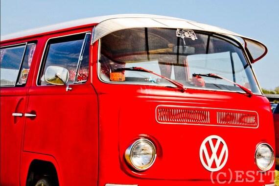 Red 1968 Volkswagen Bus Fine Art Print- Photography, Car Art, Antique Car, Home Decor, Nursery Decor, Wall Art, Vintage Car, Automobile