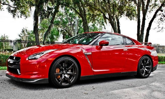 Red Nissan GT-R Car Photography, Automotive, Auto Dealer, Classic, Muscle, Sports Car, Mechanic, Boys Room, Garage, Dealership Art