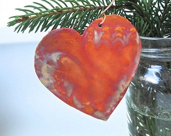 Rustic Heart Copper Christmas Decoration. Holiday Ornament. Primitive Folk Art Xmas Tree Decoration. Eco Friendly Hammered Metal Home Decor