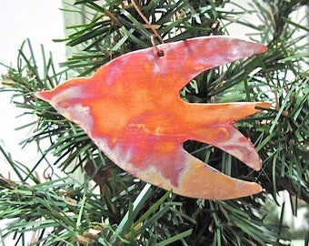 Peace Bird Christmas Ornament Hammered Copper Decoration Rustic Primitive Metal Holiday Decor Xmas Tree Ornament. Holiday Keepsake Gift Idea
