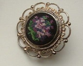 Vintage Austrian Petit Point Violet Brooch with Silver Filigree Setting