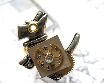 Steampunk Ring, Steampunk Dog Ring, Scottie Dog, Adjustable Ring,