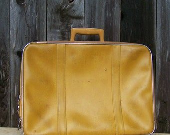 Vintage 1960s Mustard Yellow Carry-On Suitcase