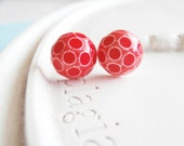 Stud Earrings - Red and White Polka Dot Peppermint