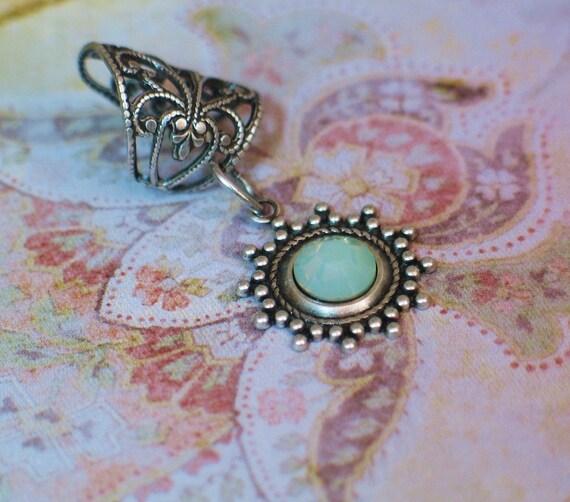 Charlotte - Silver Filigree Ear Cuff - Brilliant Chrysolite Opal Earcuff by Lorelei Designs