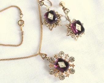Amethyst Pendant Necklace Set Earrings Vintage Purple Wedding Prom Formal