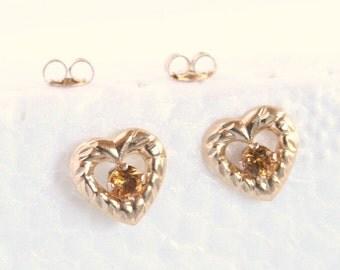 Citrine Heart Earrings Pierced Vintage Open Heart Shaped Small Delicate Gold Plate Gemstone