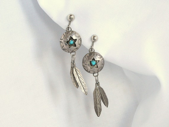 Vintage Sterling Turquoise Earrings Star Feather Dangles Native American Signed Clip On