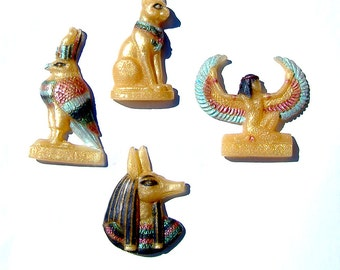 Isis Anubis Bastet and Horus Gold Satues Hand Painted Egyptian Gods and Goddesses Vegan Soap Set