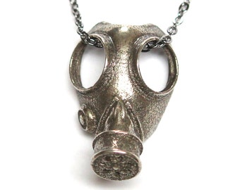 Gas Mask Necklace in Solid White Bronze Steampunk Gas Mask Pendant 279