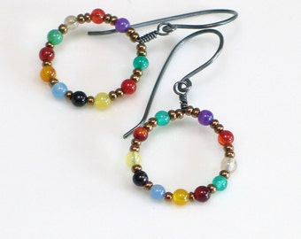 Bright Beaded Hoop Earrings, Sterling Silver and Colorful Stone Beaded Dangles, Hippie Earrings, Festive Colorful Hoops
