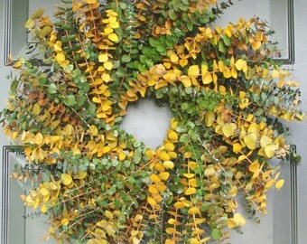 Sage and Amber Eucalyptus Wreath- Dried Floral Wreath- Eucalyptus Leaves- Eucalyptus Plant Oil-Natural Frangrance- Preserved, Dyed