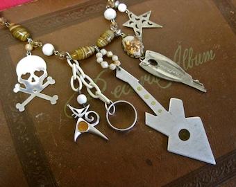 Rockabilly Honeymoon:  Guitar Necklace Atomic Modernist Vintage Assemblage Pinup Girl Skull Cat Key Ring Star Caramel and Cream