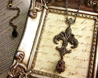 Fleur de Lys Jewelry, Renaissance Jewelry, Medieval Necklace, Marie Antoinette, Costume, Tudor, Queen, Royal, French, Antiqued Look, Garb