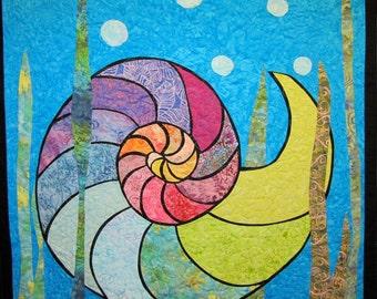 Nautilus Sea Shell Wall Hanging Art Quilt