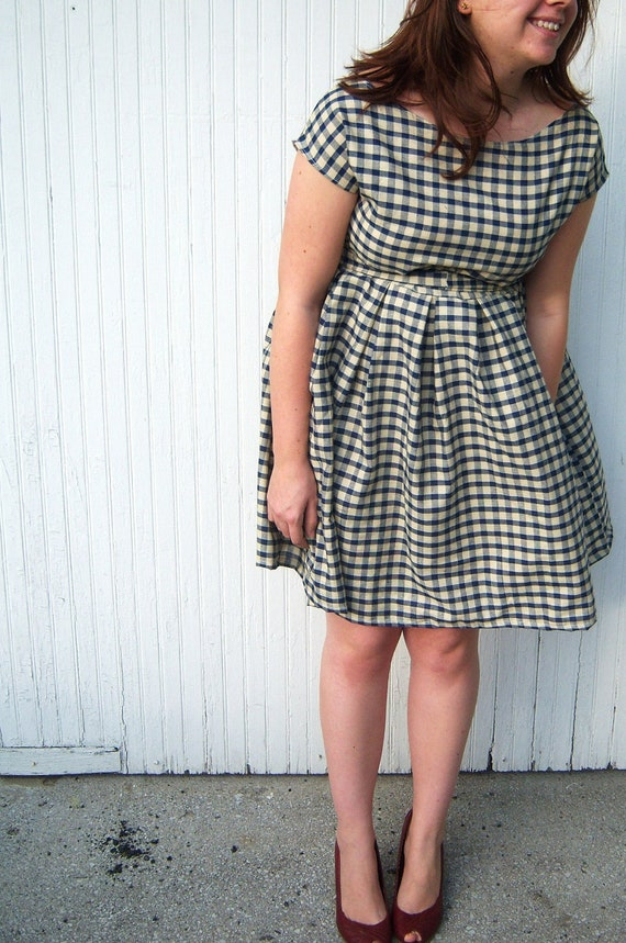 vintage inspired cocktail dress- dark blue and cream gingham