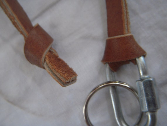 Leather Keychain Strap with Carabiner Tan Antique Vintage