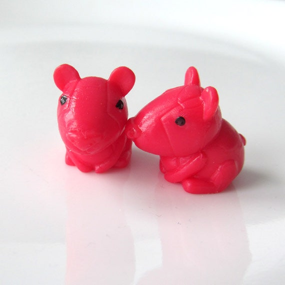 Hamster Dance in Red - Needle Buddies - Small Sock Size Double Pointed Needle DPN Holders - Last Sets