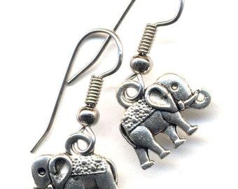 Elephant Earrings, Good Luck Elephant Earrings, Surgical Steel Earrings, Handmade jewelry by AnnaArt72
