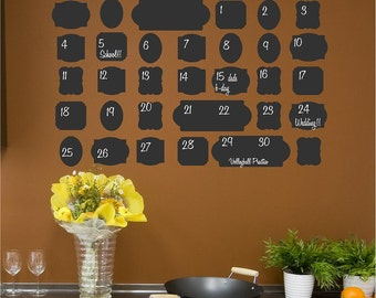 Vintage Chalkboard Calendar (Vintage Looking) vinyl lettering wall decal sticker office self-adhesive