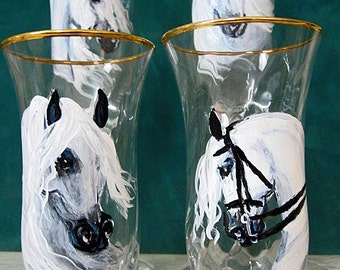 Andalusian horse art handpainted wine glasses set of 4