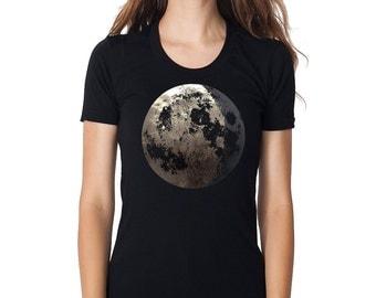 Women's Moon Shirt, full moon t Shirt, Crescent Moon shirt, Silver Moon Shirt, Women's Clothing, Moon Clothing, Moon Print, Moon Art, Space