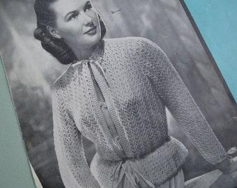 Vintage 1940s Knitting Pattern Womens Bed Jacket Cardigan 40s original pattern