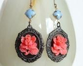 Victorian Pink Rose Earrings Vintage Flower Cameo Earrings Carved Resin Rose Victorian Floral Earrings Vintage Style Rose Cameo Jewelry