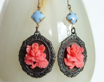 Victorian Pink Rose Earrings Vintage Flower Cameo Earrings Carved Resin Rose Victorian Floral Earrings Vintage Style Rose Cameo Jewelry
