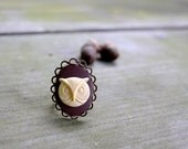 Owl Ring - Woodland - Rustic - Brown - Cream - Antique Bronze - Autumn - Fall - Gifts Under 25 - cynicalredhead