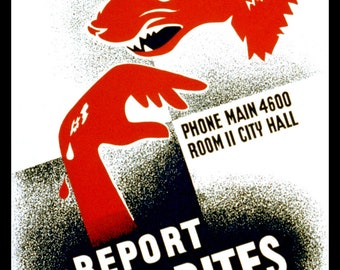 Report Dog Bites 1930s WPA Poster - Giclee Art Print