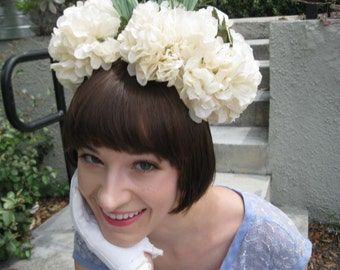 Amazing Fluffy White Floral Head Piece - Hat - Flowers