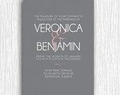 Printable Wedding Invitation - Pink and Grey Typography Invite