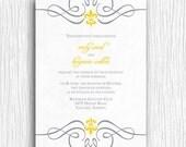 Fleur de lis Wedding Invitation - Yellow and Grey Printable