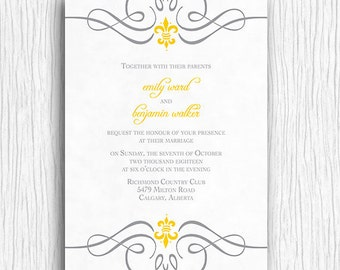 Fleur de lis Wedding Invitation - Yellow and Grey Printable