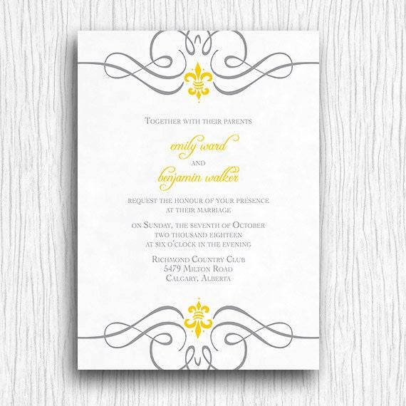 Fleur De Lis Wedding Invitation Fleur de lis wedding invitation