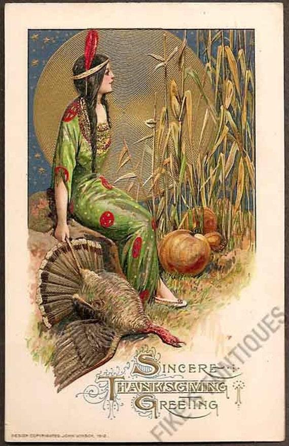 Thanksgiving Samuel Schmucker Vintage Postcard - Indian Maiden with Moon, Pumpkins, Corn and Turkey