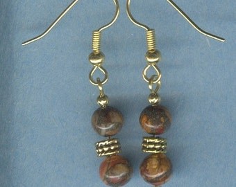 Multi-Color Picasso Jasper with Pyrite Gemstone Earrings