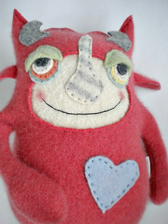 Stuffed Animal Baby Monster Cashmere Sweater Coral Repurposed Recycled