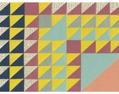 Triangle Quilt  Print- Geometric Cut Paper Artwork FREE SHIPPING